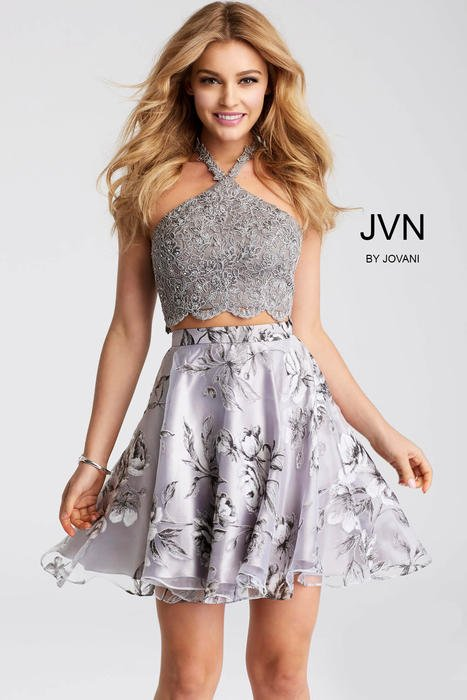 Jovani - Two Piece Satin Print Skirt Lace Top