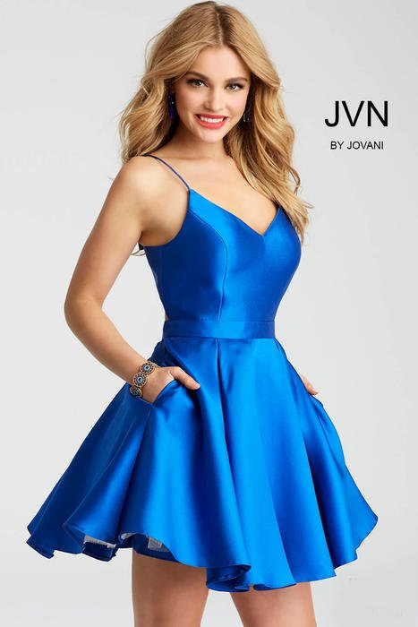 Jovani - Satin Dress Spaghetti Strap