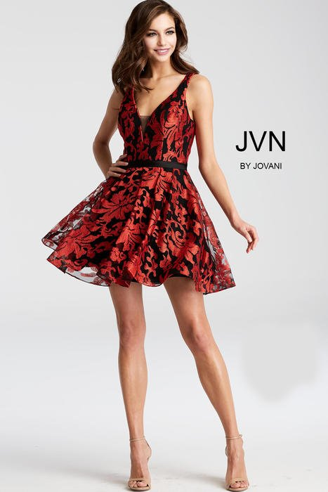 Jovani - Embroidered V-Neck Fit & Flare Dress