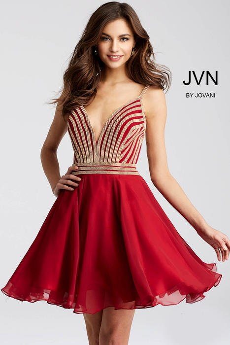 Jovani - Chiffon Dress Beaded Bodice