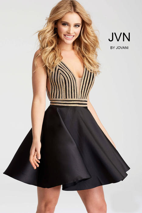 Jovani - Satin Dress Beaded Bodice