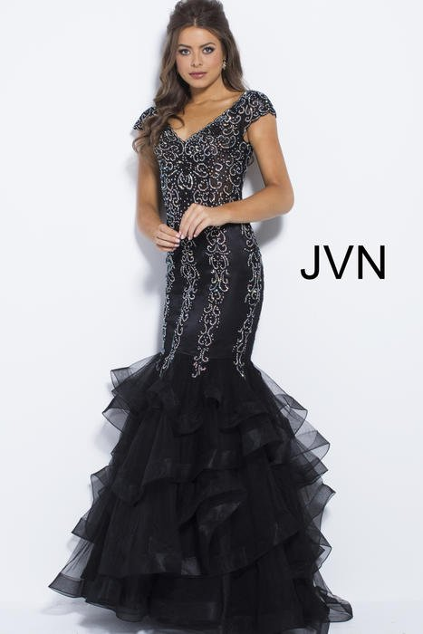 Jovani - Mesh Beaded Mermaid Gown Cap Sleeve