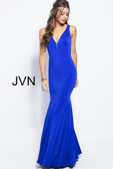 Jovani - Satin Gown Open Back