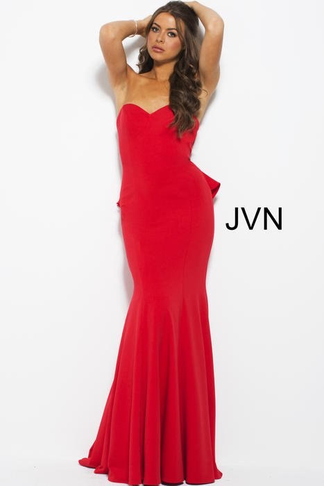 Jovani - Satin Gown Strapless Ruffle Back