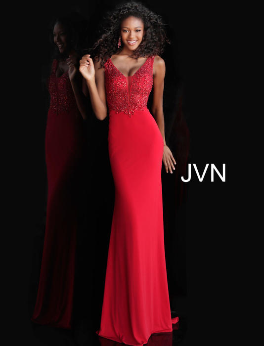 Jovani - Jersey Gown Beaded Bodice