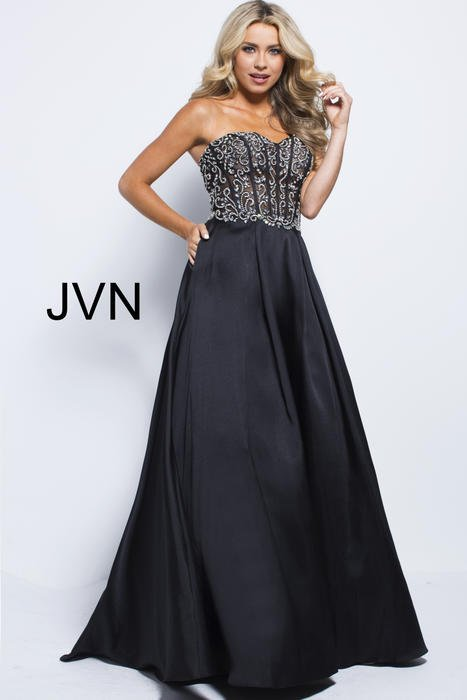 Jovani - Satin Ball Gown Beaded Strapless Bodice