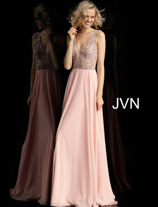 Jovani - V-Neck Beaded Bodice Gown with Chiffon Skirt