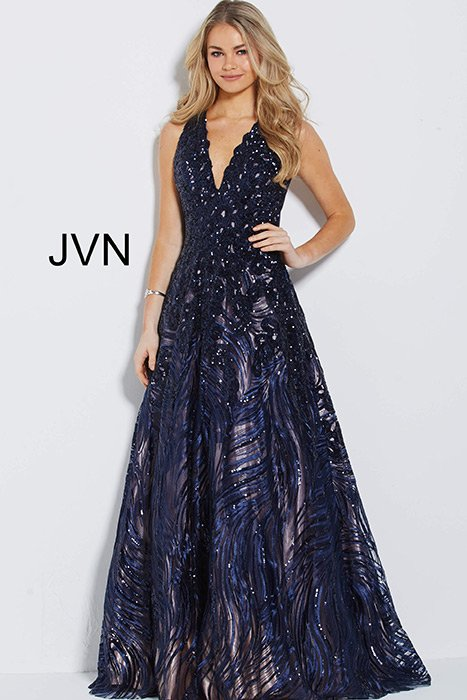 Jovani - Tulle Beaded Ball Gown With Scarf