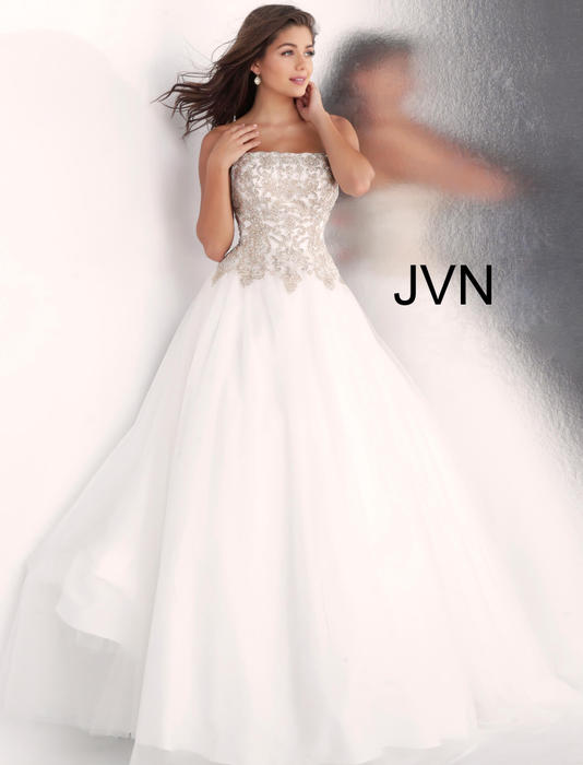 Jovani - Tulle Strapless Beaded Bodice Ball Gown