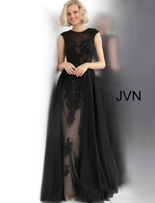 Jovani - All Over Embellished Lace Chiffon Skirt