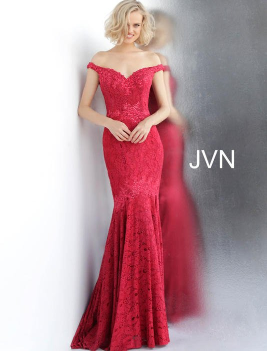 Jovani - Lace Off The Shoulder Mermaid Gown