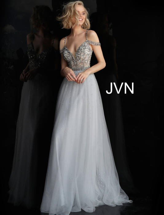 Jovani - Tulle Gown Beaded Bodice