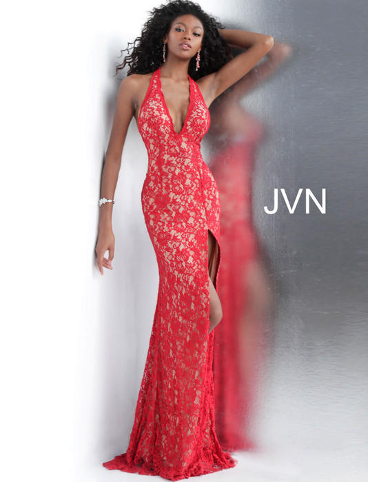 Jovani - Lace Beaded Halter Neck Gown