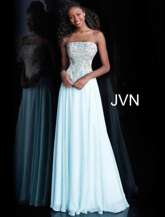 Jovani - Embellished Strapless Beaded Bodice Gown
