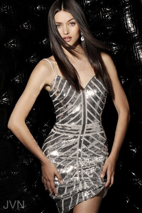 Jovani - Sequin Dress Spaghetti Strap