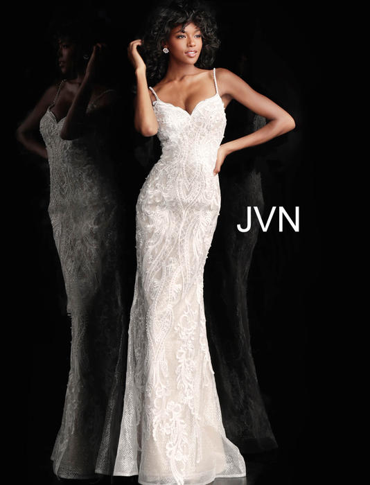 Jovani - Lace Beaded Pleated Gown