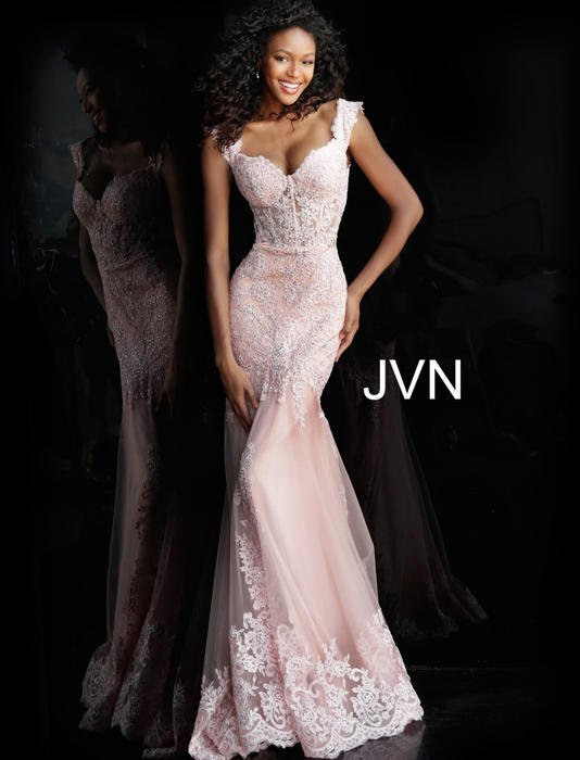 Jovani - Off the Shoulder Mesh Lace Beaded Gown