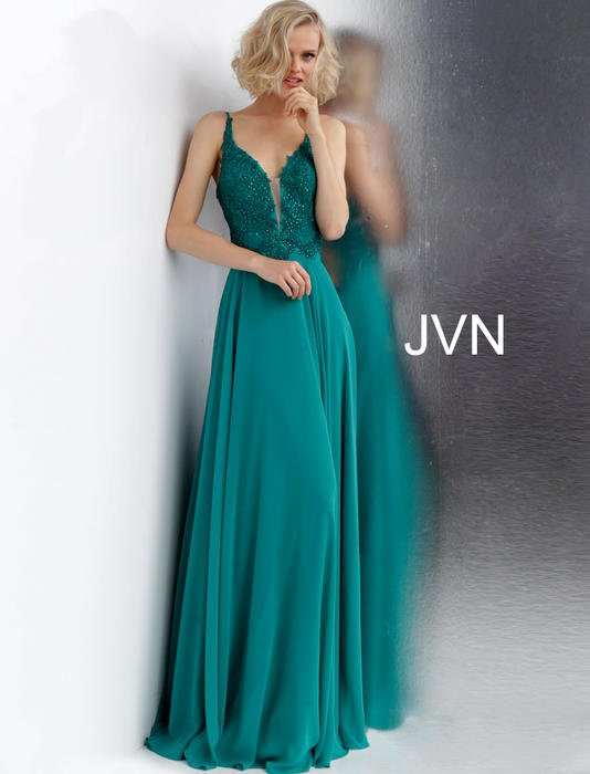 Jovani - Chiffon Beaded Bodice Lace up Back Gown