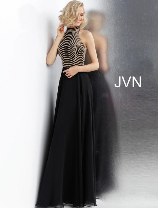 Jovani - Beaded Bodice Halter Neck Gown