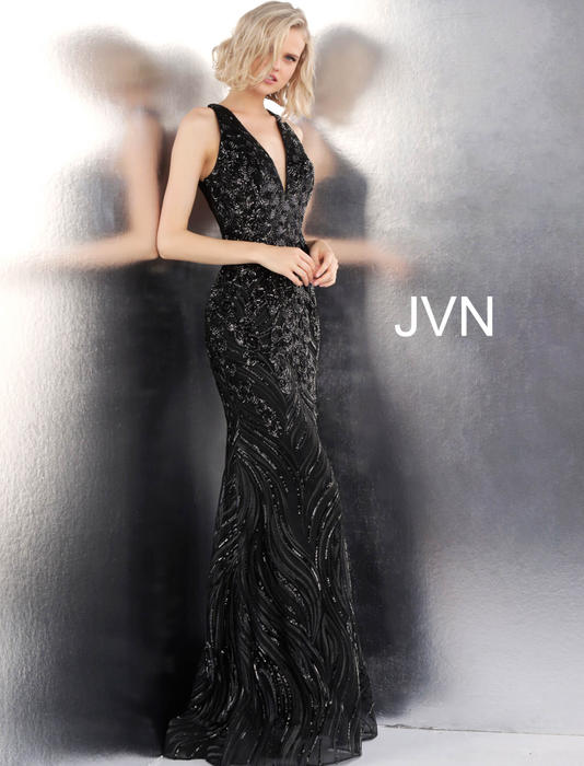 Jovani - Mesh Sequin Gown Open Back