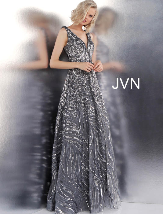 Jovani - Open Back Sequin Tulle Gown