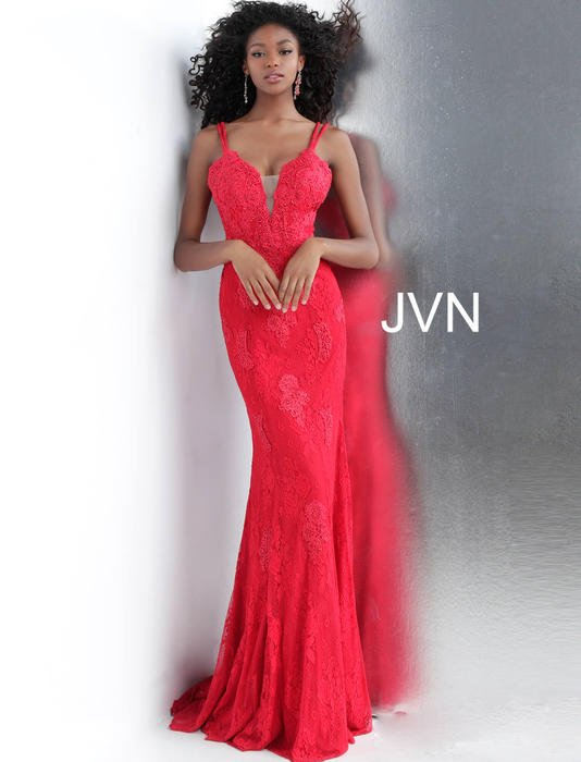 Jovani - Lace Beaded Gown Spaghetti Strap