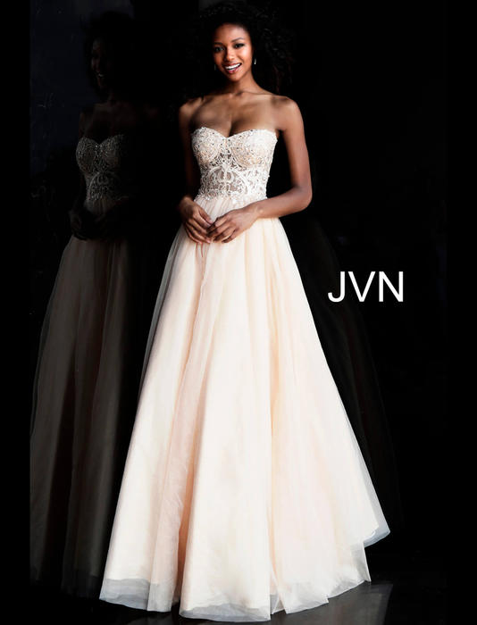 Jovani - Tulle Strapless Gown Beaded Bodice