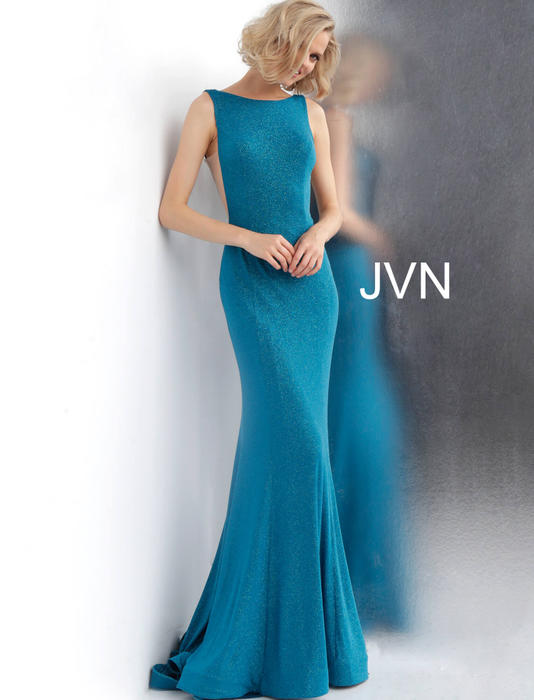Jovani - Open Back Lycra Metallic Gown