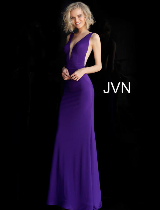 Jovani - V-Neck Open Back Sheath Gown