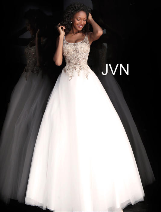 Jovani - Tulle Beaded Bodice Ball Gown