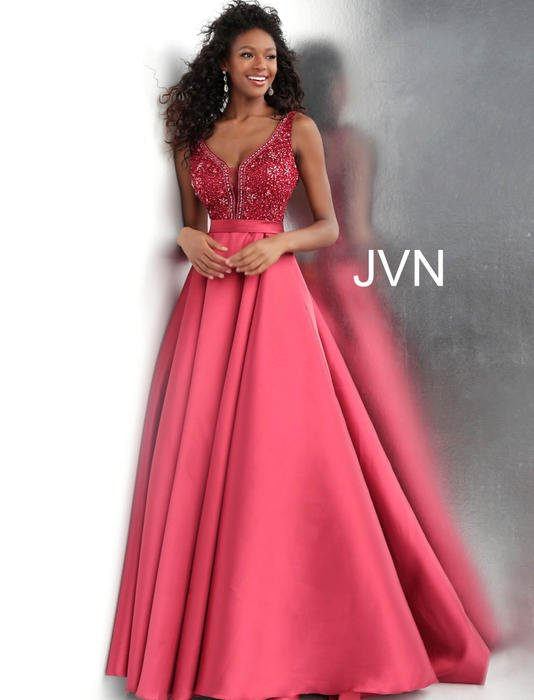 Jovani - Satin Beaded Bodice Gown