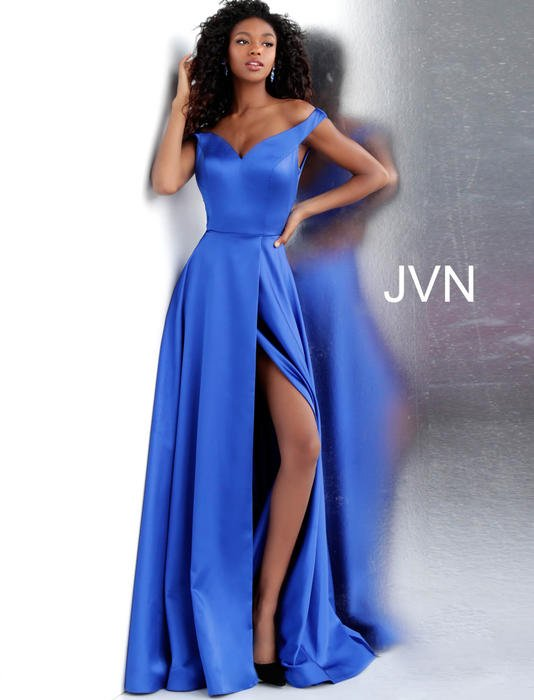 Jovani - Off-Shoulder Satin Side Slit Gown