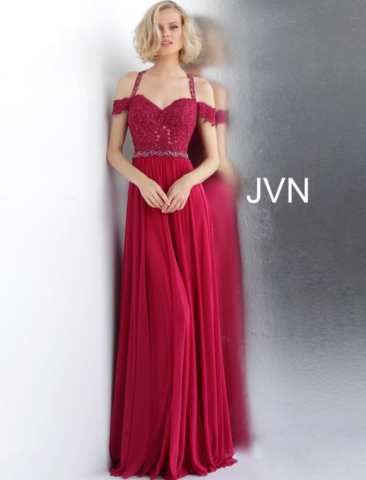 Jovani - Lace Bodice Cold Shoulder Chiffon Gown