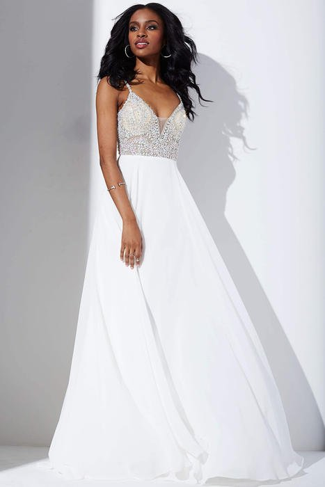 Jovani - Beaded Chiffon V Neck Gown