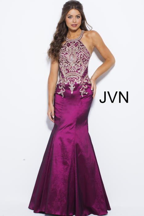 Jovani - Embroidered Taffeta Halter Mermaid Gown