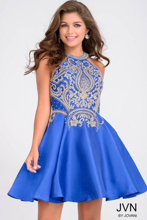 Jovani - Short Embroidered Fit & Flare Dress
