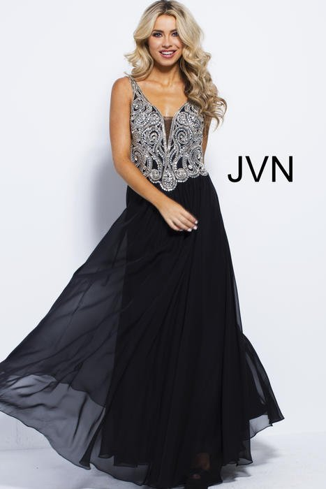 Jovani - Chiffon Gown Beaded Bodice