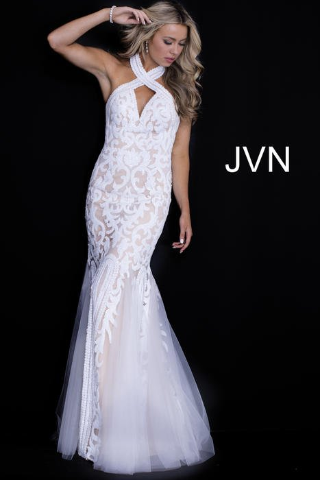 Jovani - Mesh Sequin Gown Halter Neck