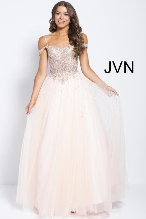 Jovani - Tulle Gown Beaded Bodice Off Shoulder