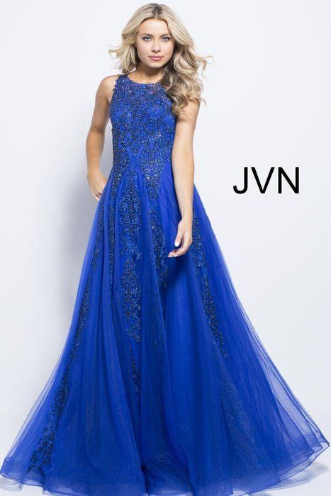 Jovani - Mesh Embroidered Dress