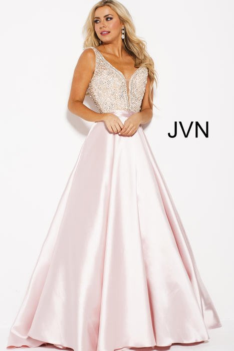 Jovani - Satin Gown Beaded Bodice