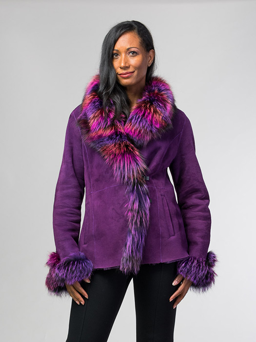 Violet Shearling Jacket With Fox Trim