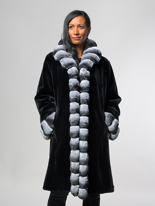 Sheared Mink Coat With Chinchilla