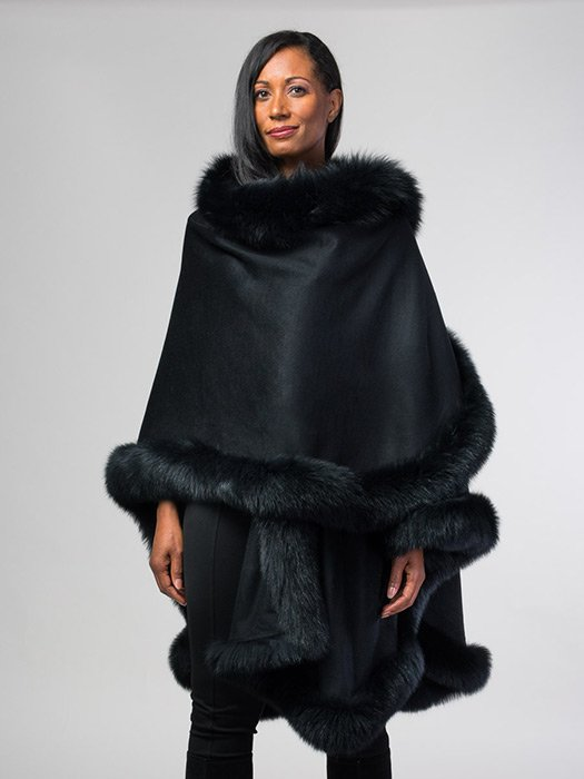 Fox Trim Cashmere & Wool Cape