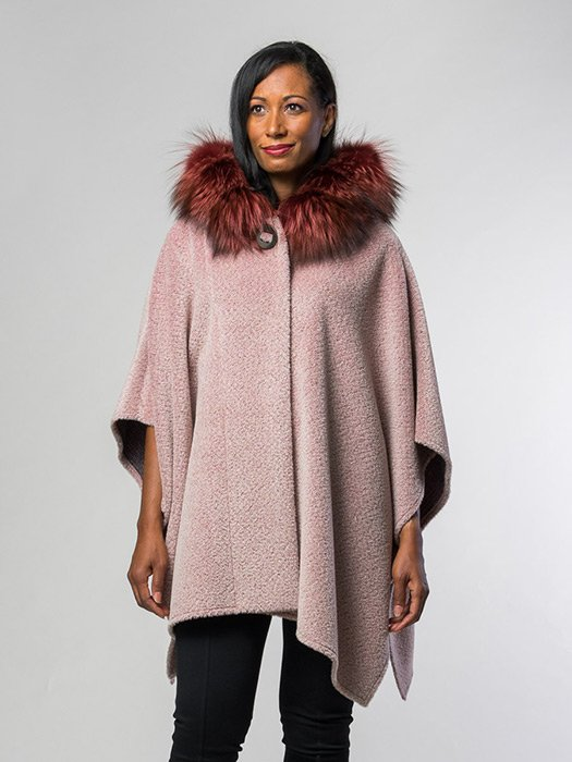 Fox Trim Alpaca Cape