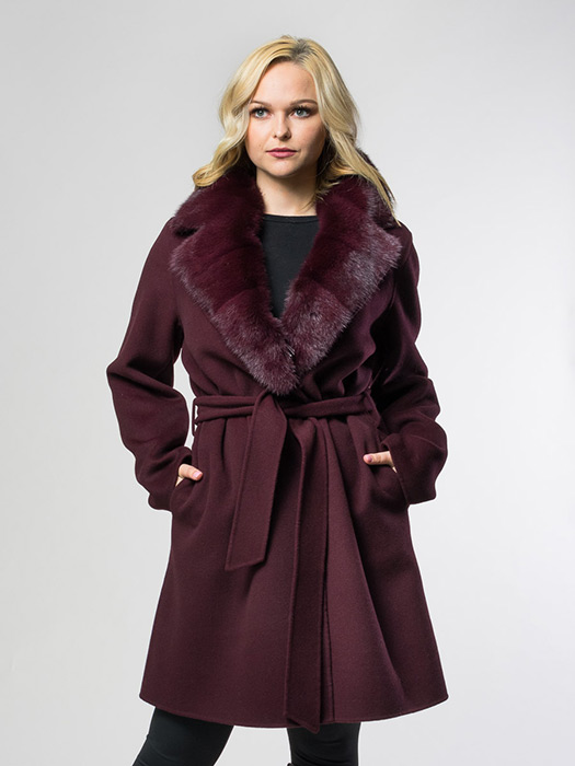 Wine Jacket & Mink Notch Collar