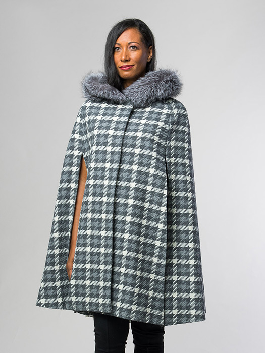 Patterned Cape With Fox Hood