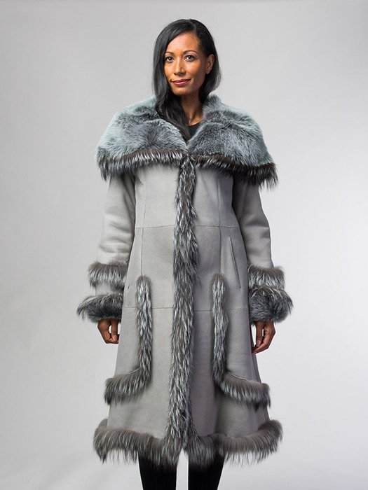 Shearling 5/8 Coat With Fox Trim