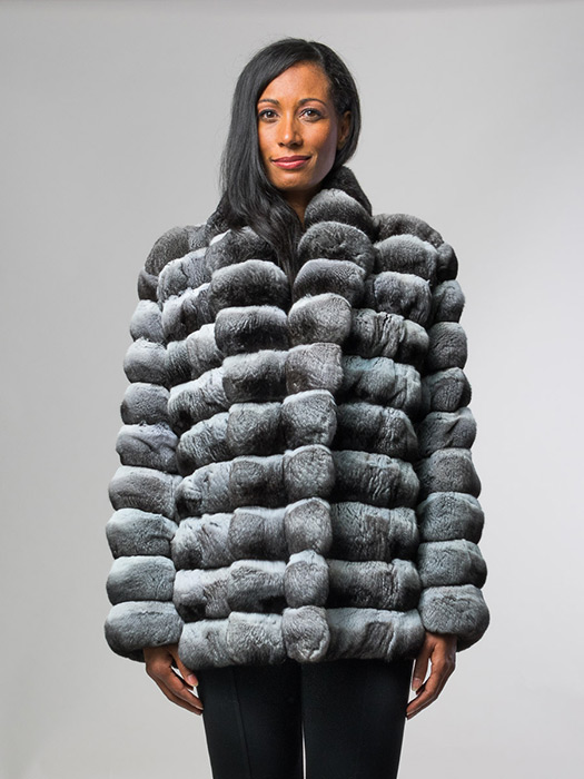 Chinchilla Jacket Large Shawl Collar