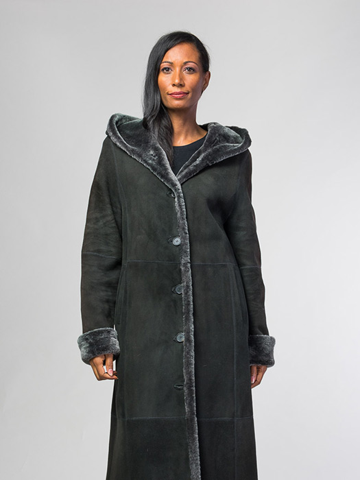 Shearling Coat With Hood